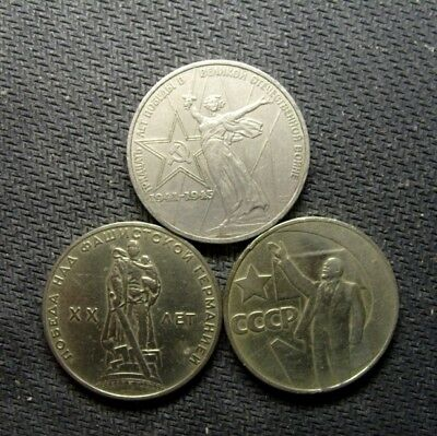 3 pieces USSR Soviet Russia Commemorative 1 Ruble Coins 1965,1967,1975