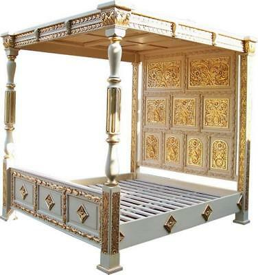 Antique White & Gold Carved Four Poster Bed 6' super king size NEW B045W&G