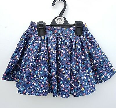 NEW Ex M&S Girls Cord Ditsy Lined Skirt. Age 12-18 -24 mths 1 2 3 4 5 6 7 Floral