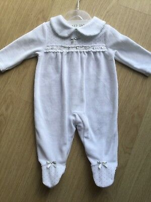 Gorgeous Boys/Girls Velour Babygrow/Sleepsuit in White and Silver by Zip Zap