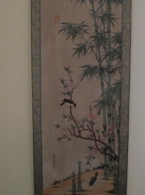 """Vintage Asian Chinese/Japanese Scroll 69"""" Bamboo Trees, Birds Calligraphy"""