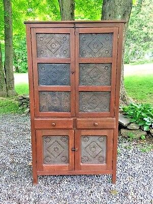 Antique Pie Safe Cabinet Cupboard 14 Punched Tins
