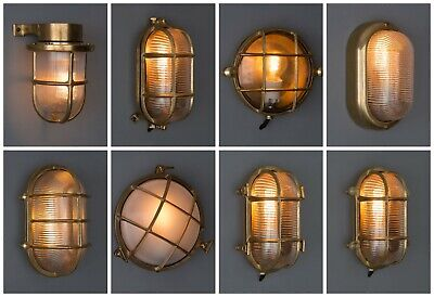 OUTDOOR BULKHEAD WALL LIGHT | Solid brass | nautical ship light | bathroom