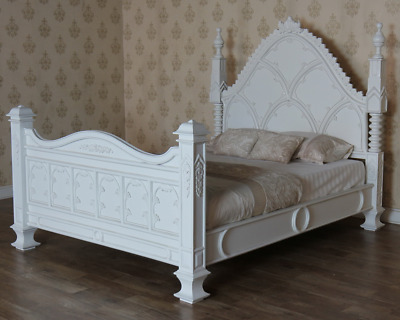 "Antique White Gothic Style Empire Bed 4'6"" 5' or 6' Solid Mahogany B046P"