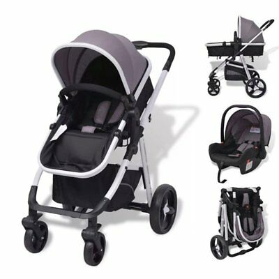 Foldable 3 in 1 Baby Stroller Pram Pushchair Car Seat Carrycot Travel System