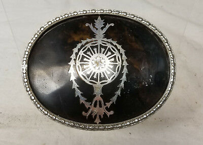 Vintage Reproduction Silver Plate Metal Jewelry Box Victorian Style