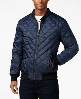 GUESS Adriel Quilted Jacket Blue Mens Size XL New