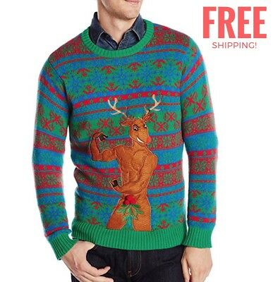 Ugly Christmas Sweater Buff Rudolf Fitness Funny Mens Shirt XL XXL Office Party