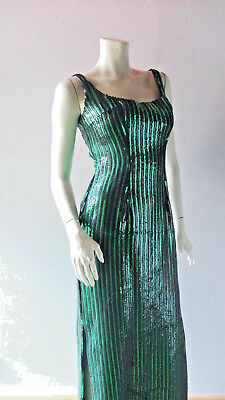 2e20c7d20ad Emerald Green Sexy Sequin Gown sz 4 6 8 Bombshell Retro Hollywood Red Carpet