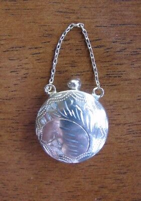 Reproduction Vintage Sterling Silver Chatelaine Scent Perfume Flask Bottle Charm