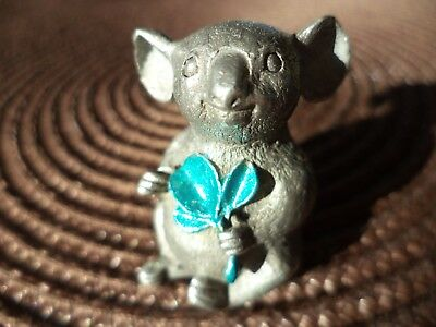 "1 1/2""  Unique Detailed 1983 Rio Pewter Koala Bear Eucalyptus Figurine Miniature"