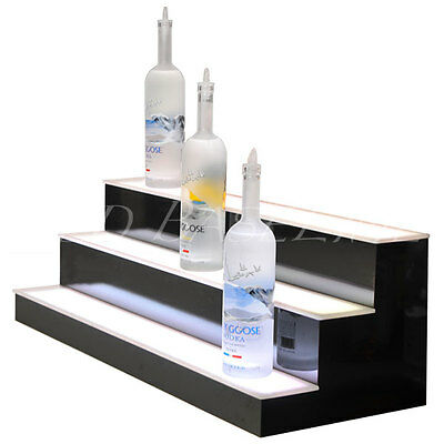 "33"" LED LIGHTED BAR SHELVES, 3 Step, LED Liquor Bottle displ, Display Shelving"