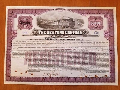 Vanderbilt Issued $50,000 New York Central Railroad Bond Stock Certificate