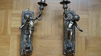 French antique Pair of sconces Cherub decor XVIStyle Bronze