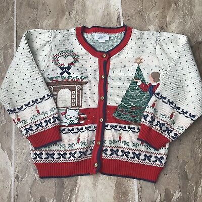 Vintage Youth Christmas Sweater Cat Embroidered and Button Down Size M