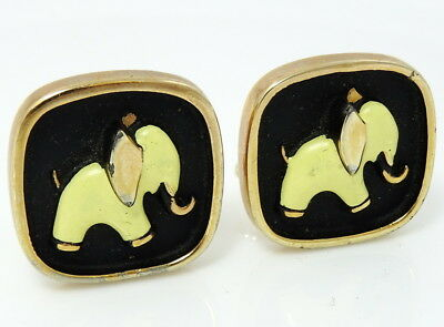 Vintage Cufflinks Yellow Elephant Hickok USA Political Cuff Links