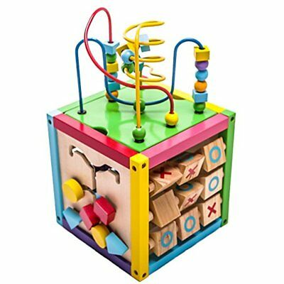 6 In 1 Play Cube Activity Center Colorful Wooden Learning Toy Kids Set 8""