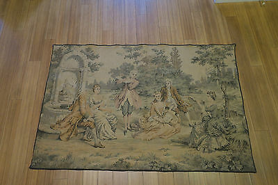 "Antique TAPESTRY 36""x54"" Made in France circa 1880 MUSICIANS"