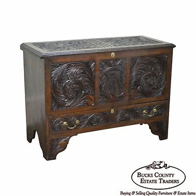 Antique 18th Century Carved Blanket Chest w/ Drawer