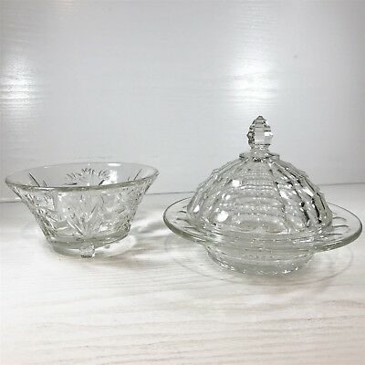 Vintage Style Crystal Clear Collectibles Butter Cheese Dish Bowl Dish Gifts :c6