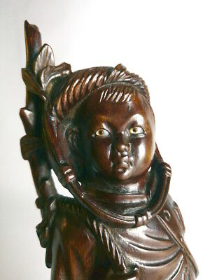 Chinese or Japanese Wood Carving Okimono Boy Soldier 19th/20th century signed