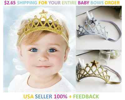 "New Baby Girl Onesize Soft ""tiara"" Crown Headband Hair Bow ~ Gold Or Silver"