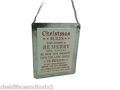 'christmas Rules Eat Drink Be Merry......' Small Metal Hanging Sign White Silver