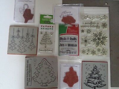 Hero Arts Jemac Penny Black Clear & Rubber Christmas Stamp Lot #1