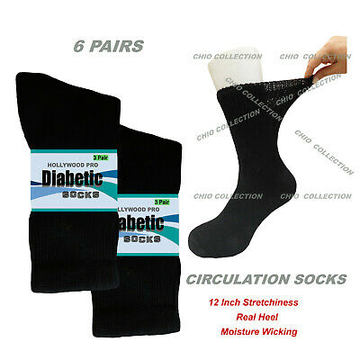 Health Diabetic Socks Cotton Solid Black 6 Pairs Crew Socks Sports 9-11