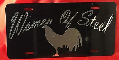 Gamefowl Gamecock Collectible Women Of Steel License Plate Tag Chrome On Black