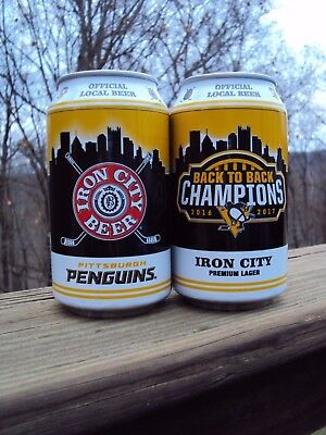 IRON CITY Pittsburgh Penguins Back to Back 2016-2017 12 oz.Beer Can LTD EDITION