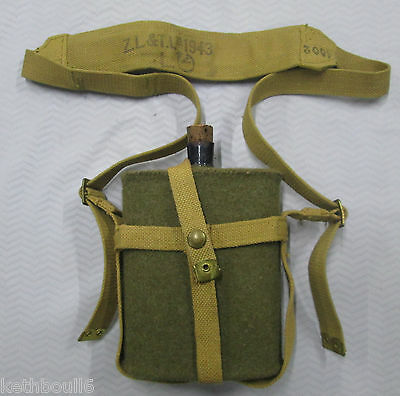 WW2 Canadian. Aussie issue water bottle carrier web set 1943