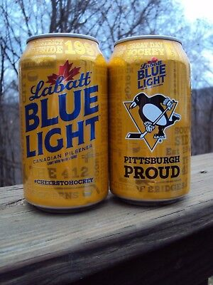 2017-2018 LABATTS BLUE LIGHT PITTSBURGH PENGUINS / PITTSBURGH PROUD beer can