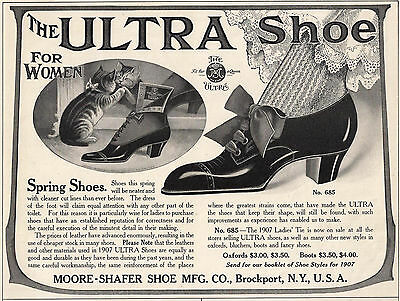 Great 1907 Ad Ultra Shoe for Women Cat Kitten Mirror Moore-Shafer Brockport N.Y.