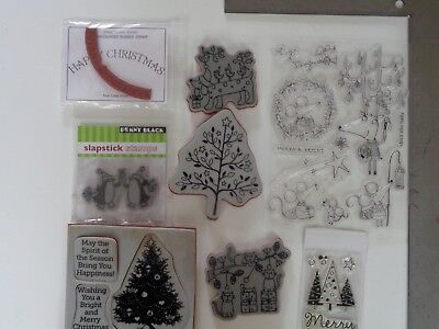 Hero Arts Jemac Penny Black Clear & Rubber Christmas Stamp Lot #2