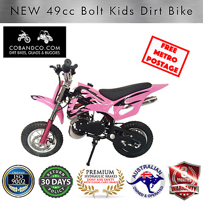 Kids Dirt Bike Mini Pee Wee Pocket Auto Off Road 49cc PINK BOLT |Cob & Co