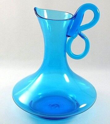 Vintage Hand Blown Mid Century Modern Bischoff Art Glass Pitcher Peacock Blue