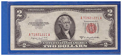 1953B $2 Dollar Bill Old Us Note Legal Tender Paper Money Currency Red Seal M541
