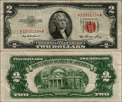 1953 $2 DOLLAR BILL OLD US NOTE LEGAL TENDER PAPER MONEY CURRENCY RED SEAL y587