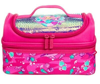 """LATEST! 🍇SMIGGLE 🌸Girl's Double Decks Lunch Box Lunchbox """"World"""" Pink, MERMAID"""