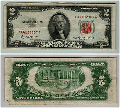 1953 $2 DOLLAR BILL OLD US NOTE LEGAL TENDER PAPER MONEY CURRENCY RED SEAL p959