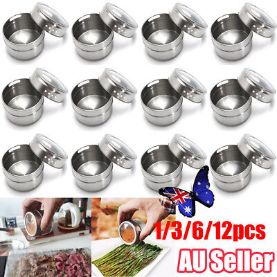 1/3/6/12X Magnetic Spice Tin Stainless Steel Storage Container Jar Clear Lid Set