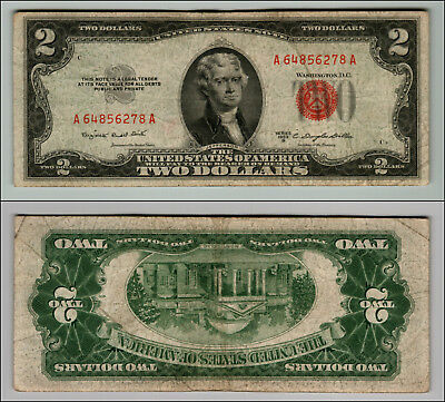 1953B $2 Dollar Bill Old Us Note Legal Tender Paper Money Currency Red Seal Z563