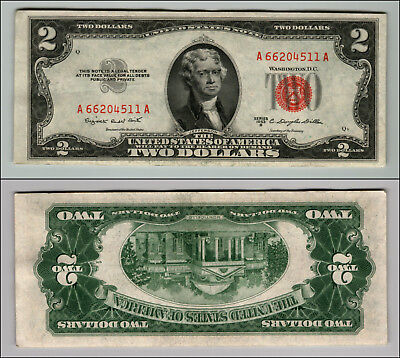 1953B $2 Dollar Bill Old Us Note Legal Tender Paper Money Currency Red Seal P604