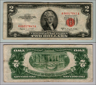 1953B $2 Dollar Bill Old Us Note Legal Tender Paper Money Currency Red Seal P607