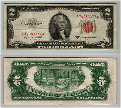 1953B $2 Dollar Bill Old Us Note Legal Tender Paper Money Currency Red Seal Z568
