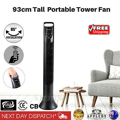 Portable Tower Fan Air Cooler 3 Speed Oscillating Cooling Timer Remote Control