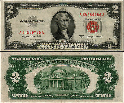 1953B $2 Dollar Bill Old Us Note Legal Tender Paper Money Currency Red Seal Y684