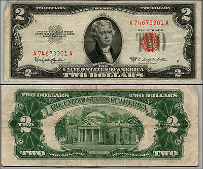 1953C $2 Dollar Bill Old Us Note Legal Tender Paper Money Currency Red Seal Q874
