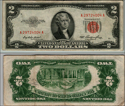 1953 $2 Dollar Bill Old Us Note Legal Tender Paper Money Currency Red Seal Z823
